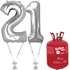Age 21 Silver Foil Kit With Helium, Ribbon and Weights