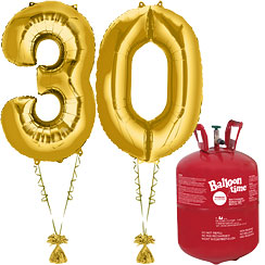 Age 30 Gold Foil Kit With Helium, Ribbon and Weights