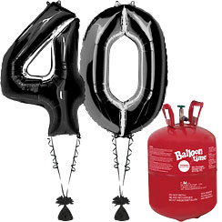 Age 40 Black Foil Kit With Helium, Ribbon and Weights