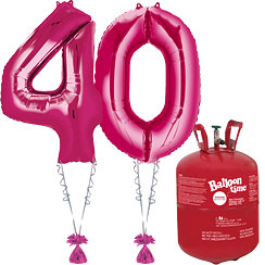 Age 40 Pink Foil Kit With Helium, Ribbon and Weights