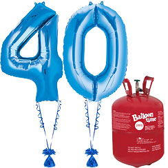 Age 40 Blue Foil Kit With Helium, Ribbon and Weights