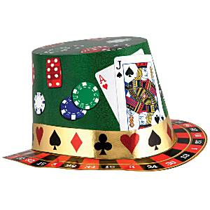 Fancy Dress Accessories Casino Night Foil Card Hat