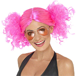80's Bunches Wig - Neon Pink