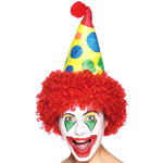 Clown Hat with attached Wig Fancy Dress