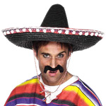 Sombrero - Black Straw Fancy Dress