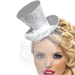 Mini Top Hat - Diamond Silver Fancy Dress