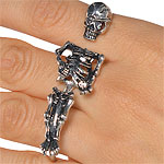 Black and Bone Three Finger Ring