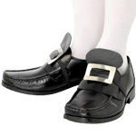 Silver Elasticated Shoe Buckles Fancy Dress