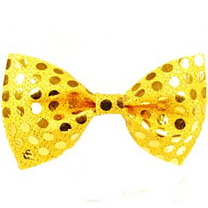 Fancy Dress Accessories Bow Tie - Gold Sequin