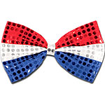 Red, Silver & Blue Sequin Bow Tie