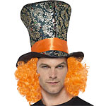 Mad Hatter Top hat with attached hair