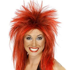 Fancy Dress Accessories 80's Rock Diva - Red and Black Wig