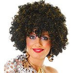 70's Disco Afro Black/gold Fancy Dress