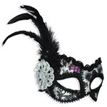 Silver and Purple Sequin Mask Fancy Dress