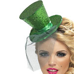 Mini Glitter Top Hat - Green Fancy Dress