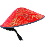 Chinese Red Fabric Coolie Hat