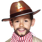 Childs Sheriff Hat Brown Fancy Dress