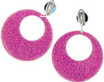 Fancy Dress Accessories Mod Earrings - Pink Glitter