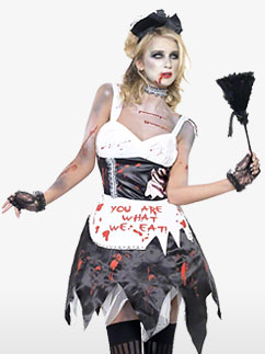 Zombie French Maid  - Adult Costume Fancy Dress