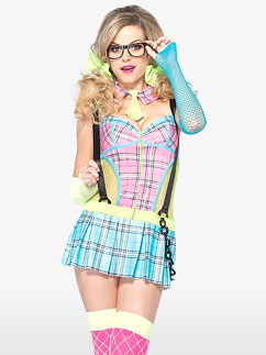Day Glow School Girl - Adult Costume Fancy Dress