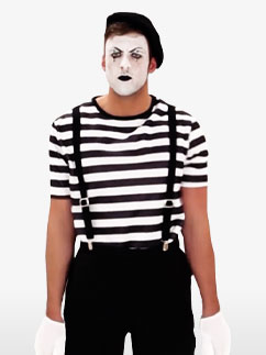 Male Mime Artist - Adult Costume Fancy Dress