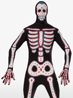 Day of the Dead Bodysuit - Adult Costume Fancy Dress