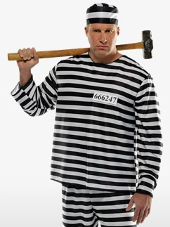 Jailbird Con Plus Size - Adult Costume Fancy Dress