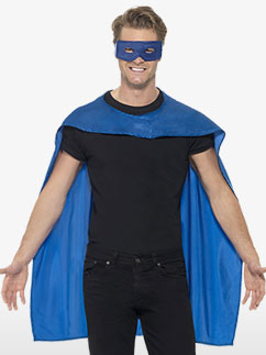 Blue cape and mask - Adult Costume Fancy Dress