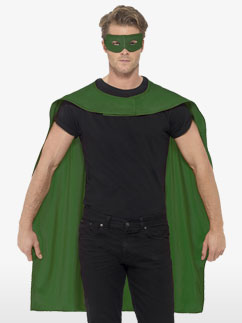 Green cape and mask - Adult Costume Fancy Dress