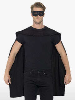 Black cape and mask - Adult Costume