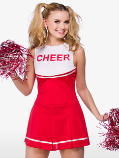 Red High School Cheerleader - Adult Costume Fancy Dress