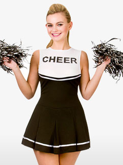 Black High School Cheerleader - Adult Costume Fancy Dress
