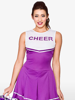 Purple High School Cheerleader - Adult Costume Fancy Dress