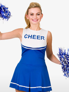 Blue High School Cheerleader - Adult Costume Fancy Dress