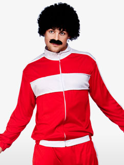 80's Red Retro Trackie - Adult Costume Fancy Dress
