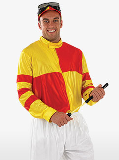 Red and Yellow Jockey - Adult Costume Fancy Dress