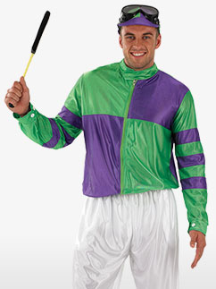 Green and Purple Jockey - Adult Costume Fancy Dress