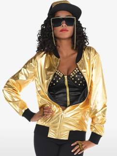 90's Hip Hop Gold Jacket - Adult Costume Fancy Dress