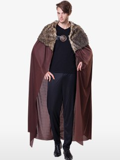 Deluxe Brown Fur Collared Cape