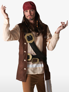 Captain Jack Sparrow - Adult Costume Fancy Dress