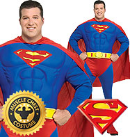 Superman Deluxe Fuller Figure - Adult Costume Fancy Dress