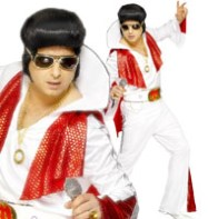 Elvis White/Red - Adult Costume Fancy Dress
