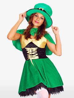 St Patrick's Lady Leprechaun - Adult Costume Fancy Dress