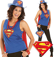 Supergirl Top - Adult Costume Fancy Dress