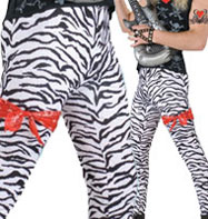 Black Zebra Print Trousers - Adult Costume Fancy Dress