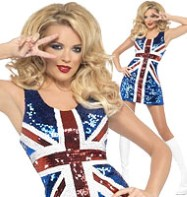 Rule Britannia Glitter Dress - Adult Costume Fancy Dress