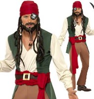 Caribbean Drunken Pirate - Adult Costume Fancy Dress