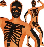 Morphsuit Skeleton Orange - Adult costume Fancy Dress