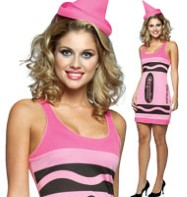 Crayola Crayon Dress Pink - Adult Costume Fancy Dress
