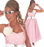 50's Pink Polka Dot Dress - Adult Costume Fancy Dress